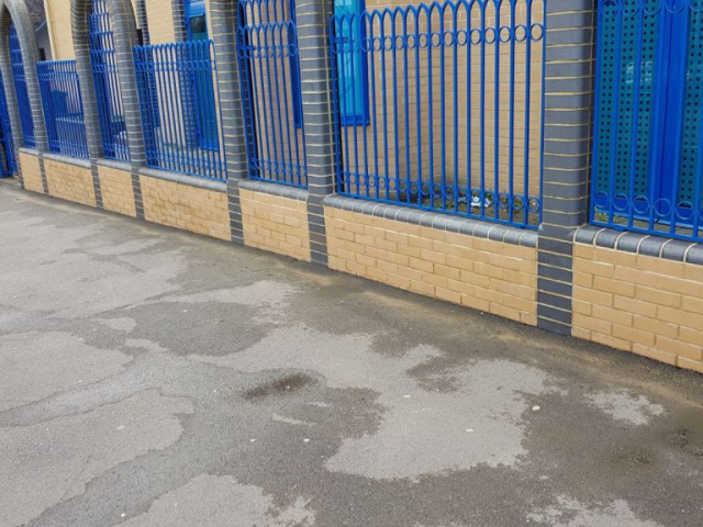 The entrance wall is located on a busy road and had become soiled over time, Doff Steam Cleaning equipment used with outstanding results.